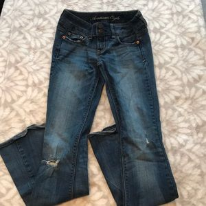 "AEO ""artist"" stretch blue jeans"